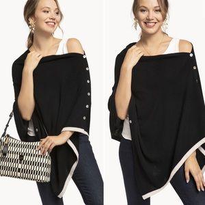 Spartina 449 | Black Cashmere & Wool Poncho